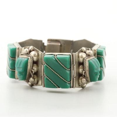Mexican Sterling Silver Obsidian Panel Link Bracelet