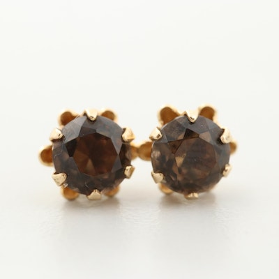 14K Yellow Gold Smoky Quartz Stud Earrings