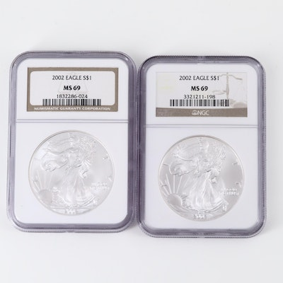 Two NGC Graded MS69 2002 American Silver Eagle Bullion Coins