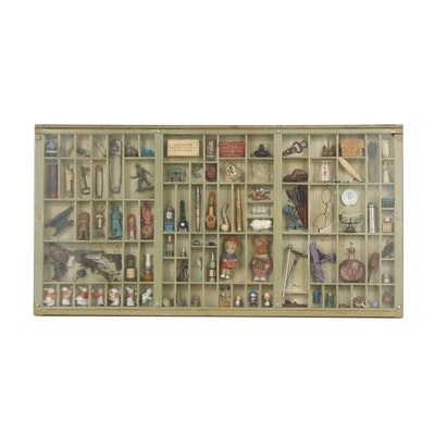 Figurines and Miniatures in Wooden Cabinet Shadow Box
