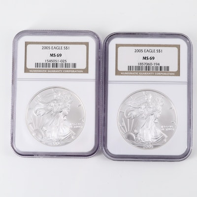 Two NGC Graded MS69 2005 American Silver Eagle Bullion Coins