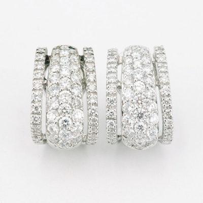 18K White Gold 2.60 CTW Diamond J-Hoop Earrings