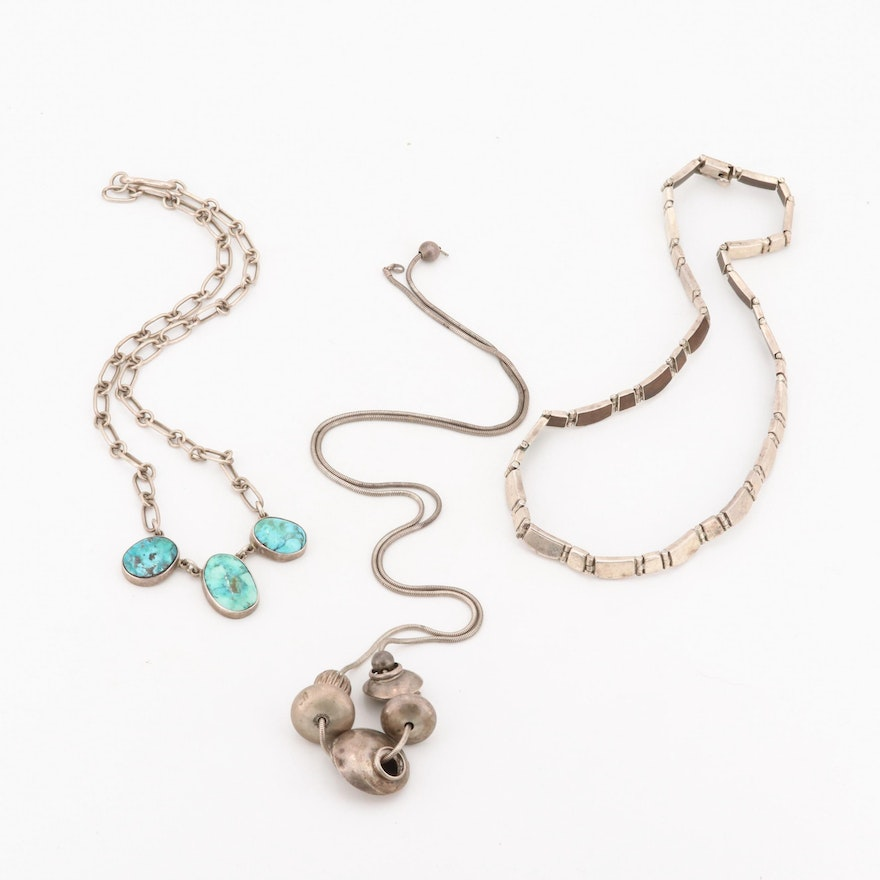 Sterling Silver Necklaces Including Southwestern Style Turquoise