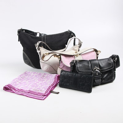 Coach Leather and Signature Canvas Handbags Including Wallet and Scarf