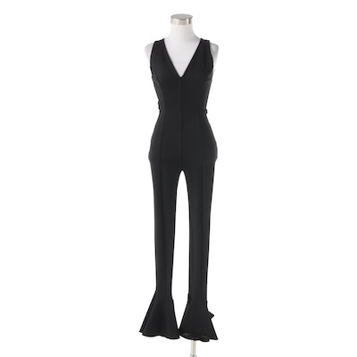 Gianni Versace Couture Black V-Cut Sleeveless Jumpsuit with Fluted Hem, 1990s