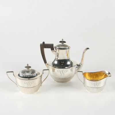 Gorham Sterling Silver Teapot, Creamer, and Sugar Bowl, Mid-Century