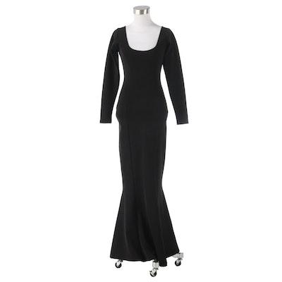 Liza Bruce Black Long Sleeve Maxi Dress with Scoop Neckline