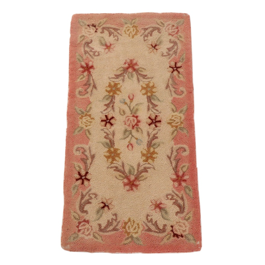 Hand-Hooked Floral Wool Rug