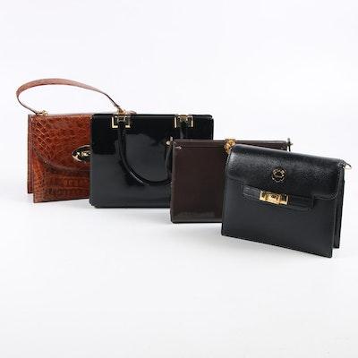 Dorian and Koret Patent Leather, Eliana Leather, and Crocodile Skin Handbags