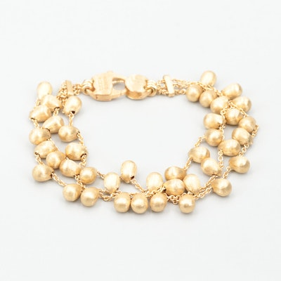 "Marco Bicego ""Acapulco"" 18K Yellow Gold Triple Chain Brushed Bead Bracelet"