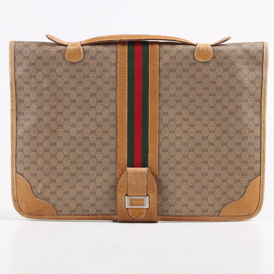 Gucci GG Supreme Micro Monogram Canvas Web Stripe Briefcase, 1970s Vintage