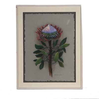 "Dianne Grammar Oil Pastel Drawing ""Protea"""