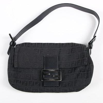 Fendi Black Zucca Canvas and Leather Shoulder Bag