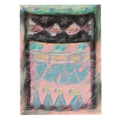 Merle Rosen 1986 Abstract Pastel Drawing