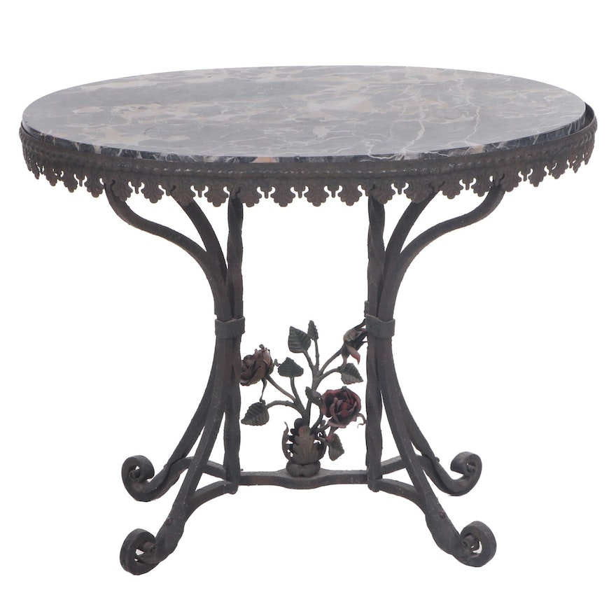 French Rococo Style Marble Top Cast Iron Side Table, 1920s-1930s