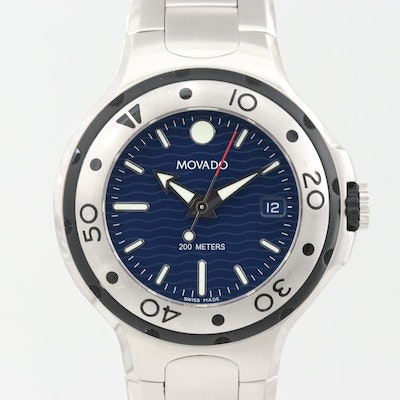 Movado Series 800 Diver Stainless Steel Quartz Wristwatch