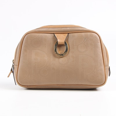 Christian Dior Beige Coated Canvas and Leather Toiletry Bag