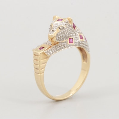 14K Yellow Gold Ruby and Diamond Panther Ring