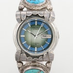 Seiko Sterling Silver and Turquoise Automatic Wristwatch With Day and Date