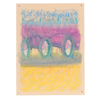 Merle Rosen 1985 Abstract Pastel Drawing