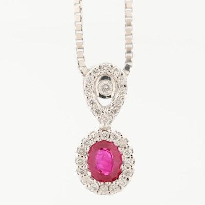 18K White Gold Ruby and Diamond Pendant on 14K Box Chain Necklace