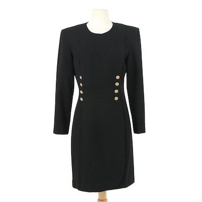Bloomingdale's Black Wool Dress with Rhinestone Encrusted Openwork Buttons
