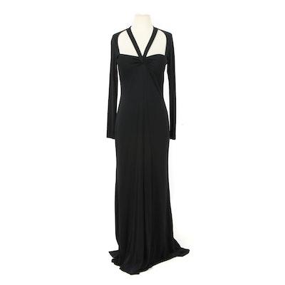 Selena Black Long Sleeve Floor-Length Evening Dress with Open Back
