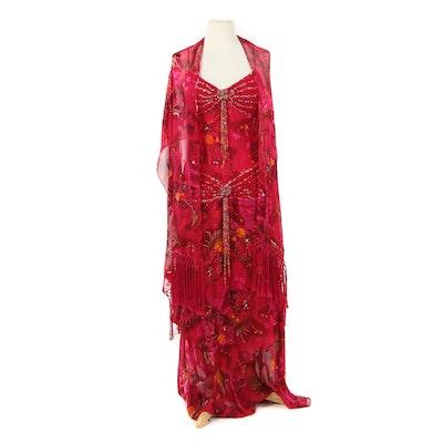 Sue Wong Nocturne Embellished Floral Silk Blend Dress with Fringed Shoulder Wrap