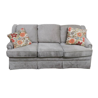 Contemporary Grey Upholstered Sofa with Throw Pillows