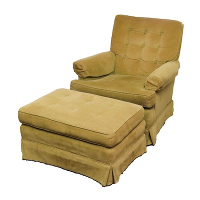 Key City Upholstered Arm Chair and Ottoman, Mid-Century