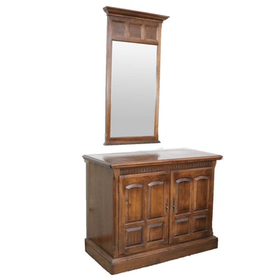 Ethan Allen Sideboard Cabinet with Wall Mirror, Mid to Late 20th Century