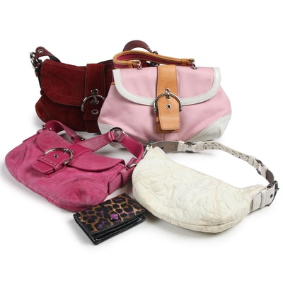 Coach Suede, Leather, Canvas and Nylon Handbags and Wallet