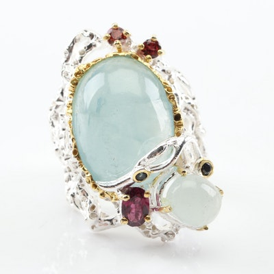 Sterling Silver 16.90 CTW Aquamarine and Garnet Ring
