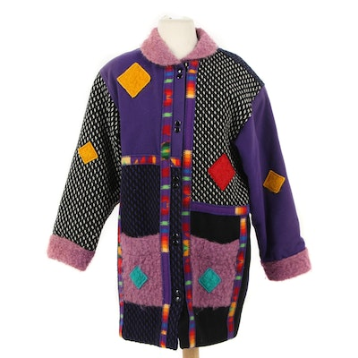 Coloratura Multicolor Patchwork Wool Coat, 1980s Vintage