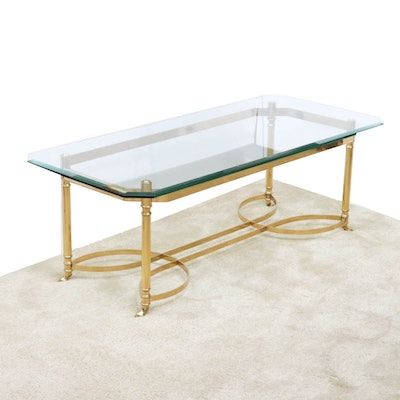 Glass Top Brass Coffee Table