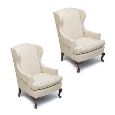 Upholstered Wingback Chairs, Mid to Late 20th Century