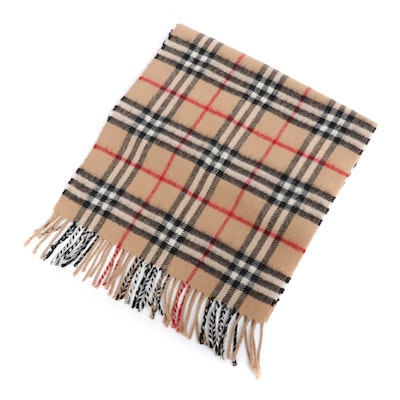 "Burberrys of London ""Nova Check"" Plaid Lambswool Fringed Scarf"