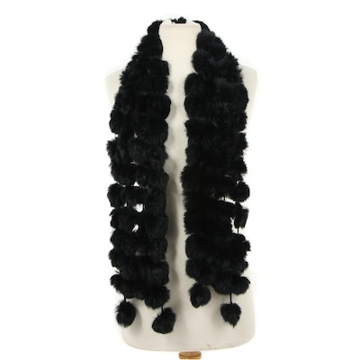 Black Rabbit Fur Pom Pom Scarf