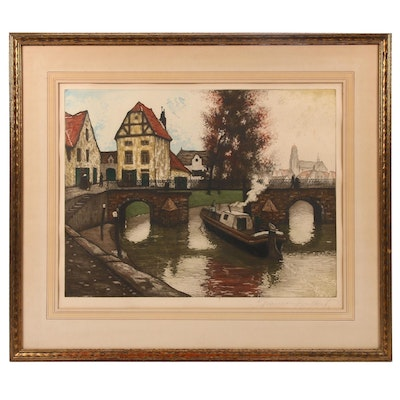 Joseph Francis Gilbert Canal Scene Etching with Aquatint