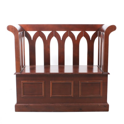 Gothic Revival Style Storage Bench, Contemporary