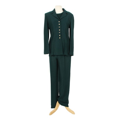 St. John Knit Three-Piece Pantsuit in Forest Green