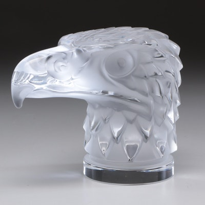 """Lalique """"Tete d'Aigle"""" Frosted Crystal Paperweight"""
