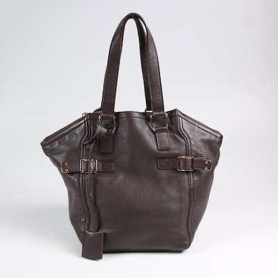 Yves Saint Laurent Brown Pebbled Leather Shoulder Bag with Gold Tone Buckles