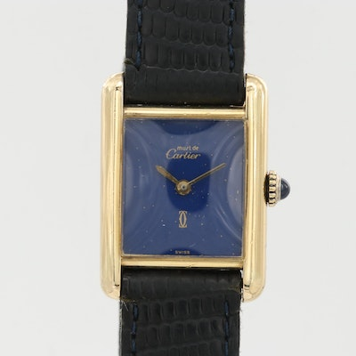Vintage Cartier Must de Cartier Tank Vermeil Stem Wind Wristwatch