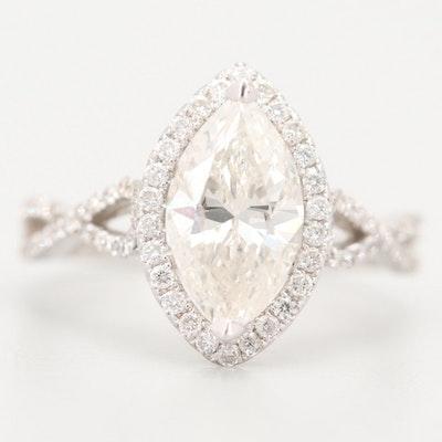 Odelia 18K White Gold 2.11 CTW Diamond Ring