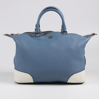 Tory Burch Blue, White, and Tan Pebbled Leather Shoulder Bag