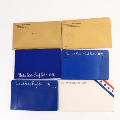 Five U.S. Mint Proof Sets Including Dates of 1963, 1964, 1968, 1970, and 1971