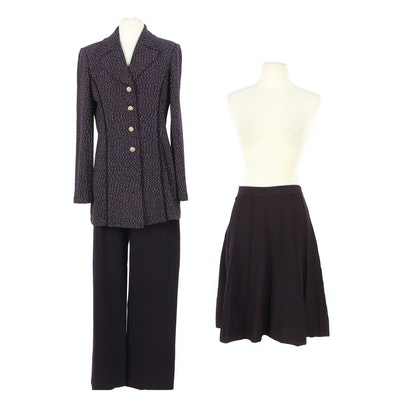 St. John Collection Skirt, Pants and Jacket in Eggplant