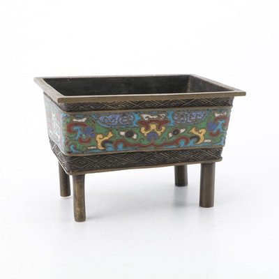 Chinese Cloisonné and Brass Censer, Late 19th/Early 20th Century
