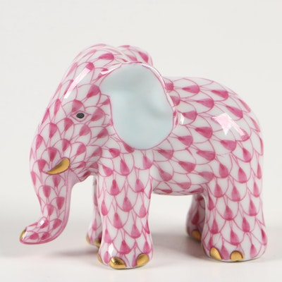 "Herend Raspberry Fishnet ""Miniature Elephant"" Porcelain Figurine, March 1994"